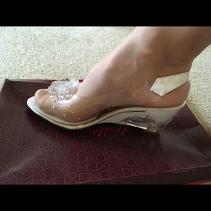 Shoes - Transparent white wedges shoes with diamonds